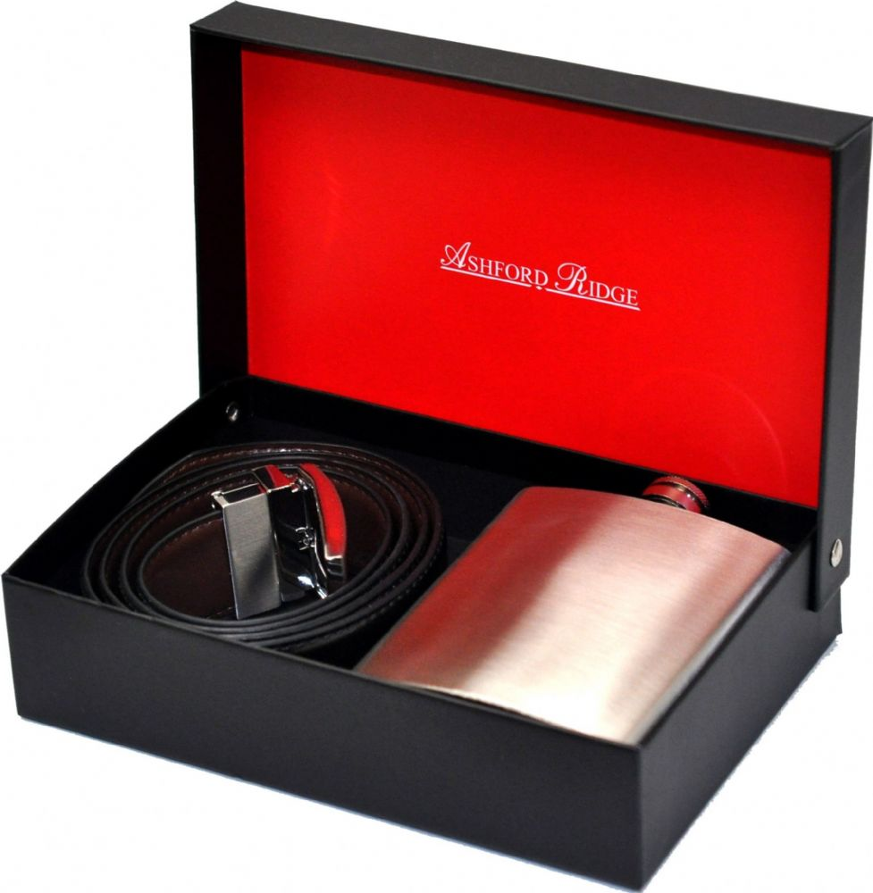Ashford Ridge Gift Boxed 35mm Reversible Coated Leather Belt & Hip Flask Gift Set